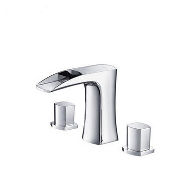 Waterfall Brass Three Holes Two Handles Bathroom Sink Faucet T1030D