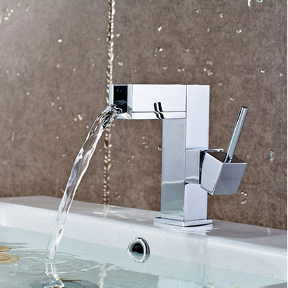 Waterfall Bathroom Brass Single Handle Mixer Sink Faucet (Short version) T1032F