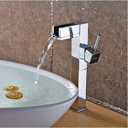 Waterfall Single Handle Brass Bathroom Sink Faucet Mixer Water Faucet (High version) T1032HF