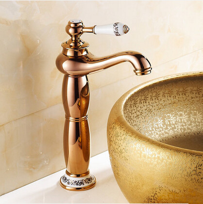 New European Style Mixer Bathroom Sink Faucet High version Rose Gold T1120A