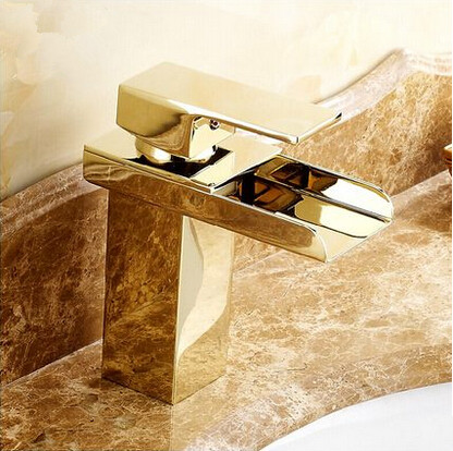 Hot Sale Brass Gold Bathroom Sink Faucet Waterfall Mixer Faucet T1122G