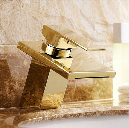Hot Sale Brass Gold Bathroom Sink Faucet Waterfall Mixer Faucet T1122H