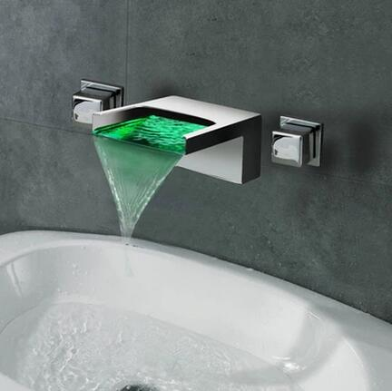 Contemporary LED Waterfall Two Handles Wall Mounted Bathroom Sink Faucet T1245