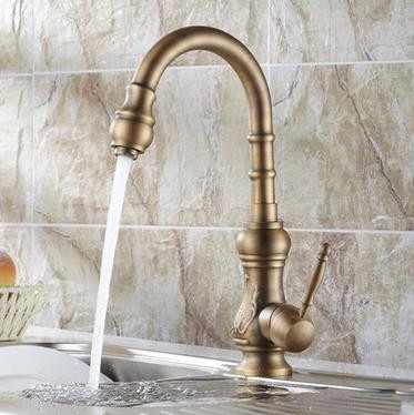 Antique Brass Kitchen Faucet (Antique Copper Finish) T-1705A