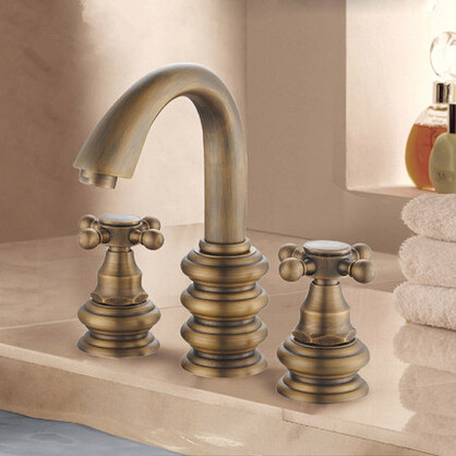Antique Three Holes Two Handles Mixer 8 Inch Bathroom Sink Faucet Washbasin Faucet T3804W