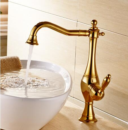 Antique Classic Golden Printed Bathroom Mixer Sink Faucet TA015G