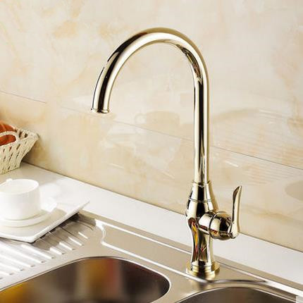 Antique Classic Style Golden Printed Mixer Kitchen Sink Faucet TA0299G
