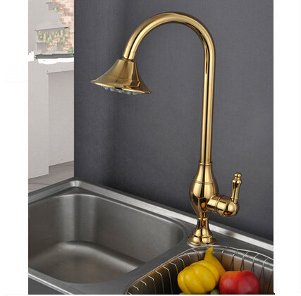 Antique Brass Golden Printed Rotatable Mixer kItchen Sink Faucet TA077C
