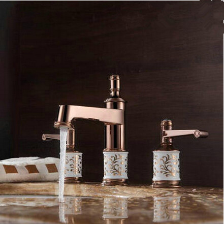Antique Brass Rose Gold Two Handles Classical Bathroom Sink Faucet TA091RG