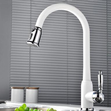 High Quality Brass White Painted Kitchen Pull Down Sink Faucet TB3013