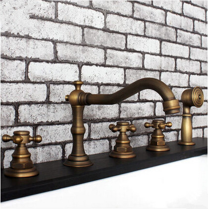 Antique Brass Five-Pieces Bathroom Bathtub Shower Mixer Faucets FTB455A