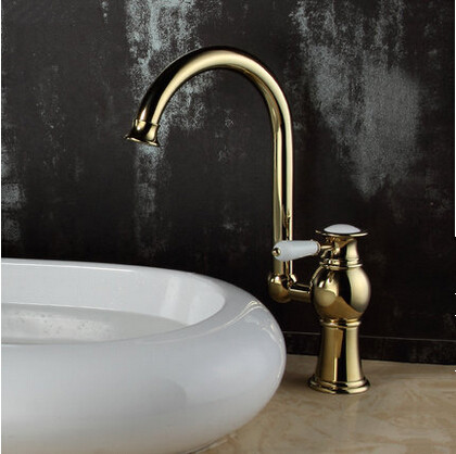 Brass Antique Luxury Gold Plated Single Handle Mixer Water Faucet For Both Bathroom and Kitchen TC256H