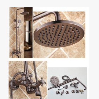 Antique Oil-rubbed Bronze Waterfall Rainfall + Handheld Wall Mount Shower Faucet - TFB001