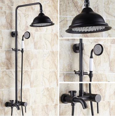 Design Black Bronze Brass Mixer Rainfall Shower Faucet TFB533
