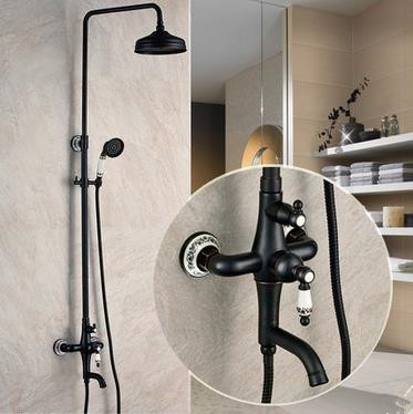 Design Antique Black Bronze Copper mixed shower Faucet TFB655