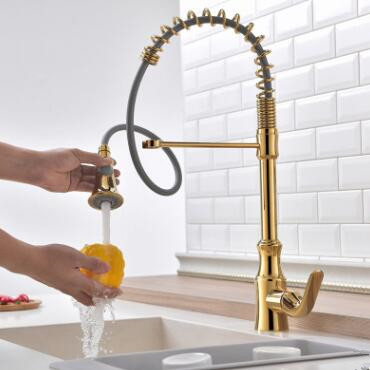 Pull Out Kitchen Faucet Golden Printed Spring Kitchen Sink Faucet TG0110P