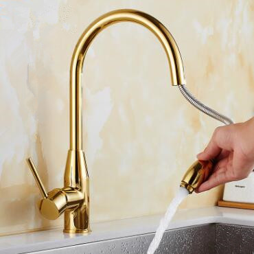 Golden Printed Brass Kitchen Pull Out Faucet Mixer Kitchen Sink Faucet TG162P