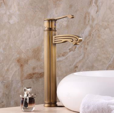 Antique Brass Finish Single Handle Centerset Wood-like Bathroom Sink Faucet Tall TP0486H