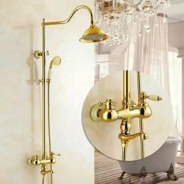 Special Design Brass Bathroom Golden Rainfall Wall Mounted Shower Faucet TS1433G