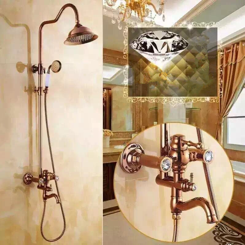 New Luxurious Brass Rose Golden Printed Rainfall Shower Faucet TS1585R