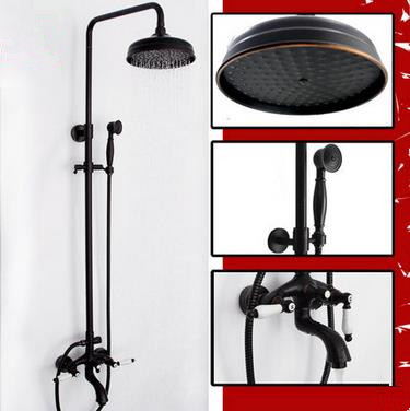 Design Black Bronze Brass Two Handles Rainfall Shower Faucet TS620B