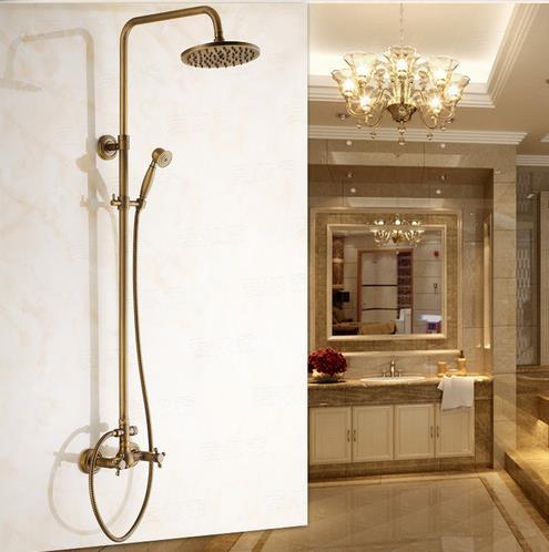 Antique Wall Mount Tub Shower Faucet with 8 inch Shower Head + Hand Shower TSA002