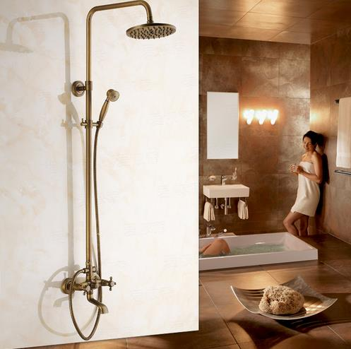 Antique Brass Tub 8 inch Shower Head + Hand Shower Shower Faucet - TSA003