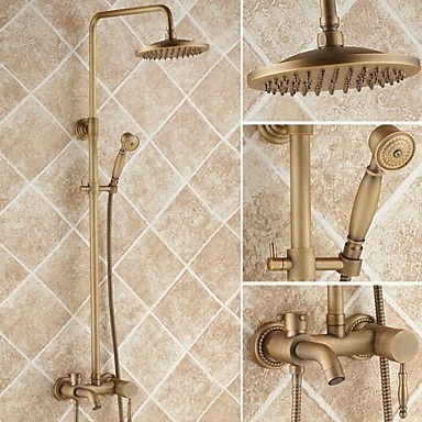 Antique Brass 8 inch Shower Head + Hand Shower Tub Shower Faucet - TSA005