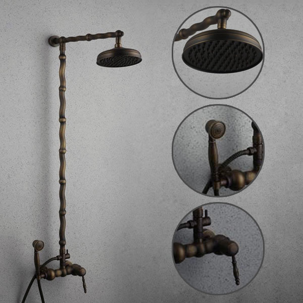 Antique Brass Single Handle Three Holes Wall Mount Rainfall + Handheld Shower Faucet TSA006
