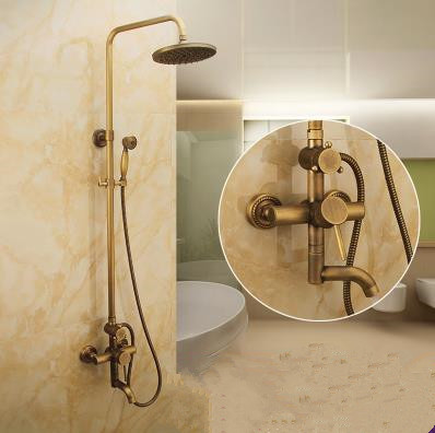 Antique Wall Mount 8 inch Shower Head + Hand Shower Tub Shower Faucet - TSA007