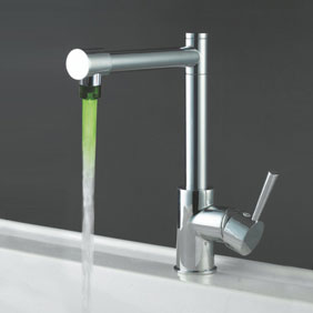Contemporary Color Changing LED Light Kitchen Faucet - T0465F