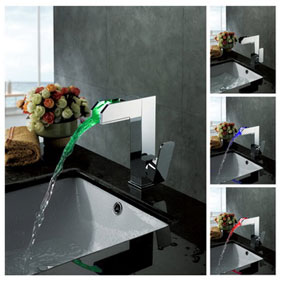 Contemporary Color Changing LED Bathroom Sink Faucet - T8005-3