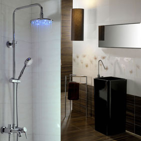 Contemporary Color Changing LED Shower Faucet with 8 inch Shower Head + Hand Shower - T330F