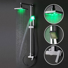 Contemporary Color Changing LED Shower Faucet with 8 inch Shower Head Hand Shower - SF001