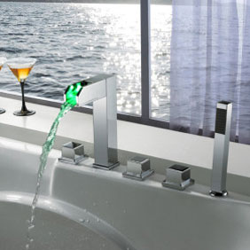 Contemporary Color Changing LED Tub Faucet with Hand Shower - T8005-4