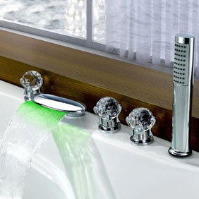 Contemporary Color Changing LED Glass Handles Tub Waterfall Faucet with Hand Shower T6016