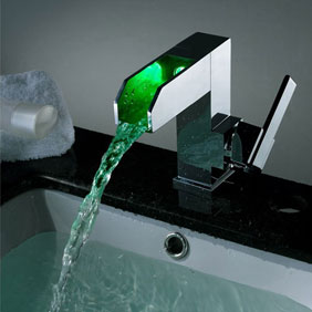 Contemporary Color Changing LED Waterfall Bathroom Sink Faucet - T8005F