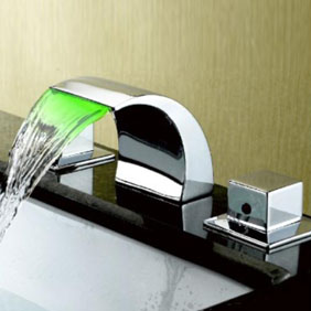 Contemporary Color Changing LED Waterfall Widespread Bathroom Sink Faucet T6012