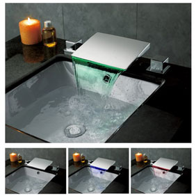 Contemporary Color Changing LED Waterfall Widespread Bathroom Sink Faucet T8012F