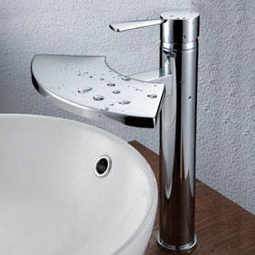 Contemporary Brass Bathroom Sink Faucet - Chrome Finish T6007