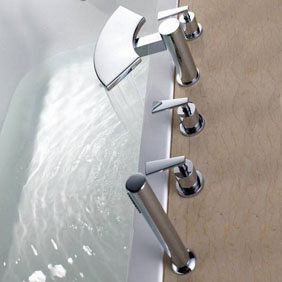 Contemporary Brass Tub Faucet with Hand Shower T6019