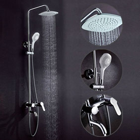 Contemporary 8 inch Shower Head + Hand Shower Shower Faucet - TSC004