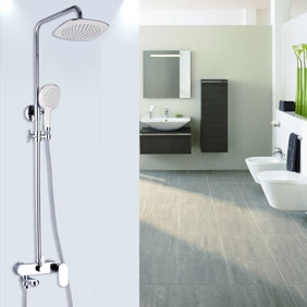 Contemporary Shower Faucet with 8 inch Shower Head + Hand Shower - TSC010