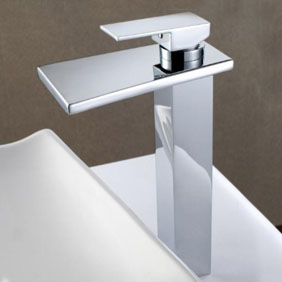 Contemporary Solid Brass Waterfall Bathroom Sink Faucet (Tall) T6005H