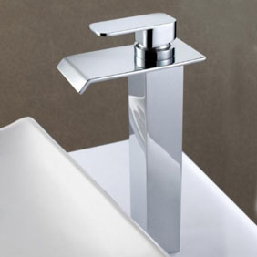 Contemporary Solid Brass Waterfall Bathroom Sink Faucet (Tall) T6006H