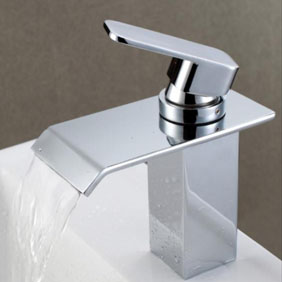 Contemporary Waterfall Bathroom Sink Faucet Chrome Finish T6006