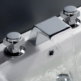 Contemporary Waterfall Bathroom Faucet (Chrome Finish, Widespread) T7005