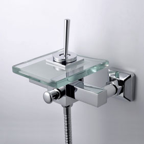 Contemporary Waterfall Tub Faucet with Glass Spout Wall Mount T0805-1W