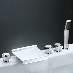Contemporary Waterfall Tub Faucet with Hand Shower (Chrome Finish) T7015