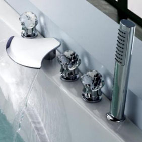 waterfall tub waterfall faucet with hand shower glass handles t6018